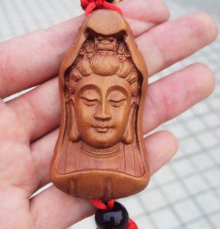Peach Wood Carved Statue Kwan - Yin Buddha Amulet Hand Car Decor Pendant Netsuke photo