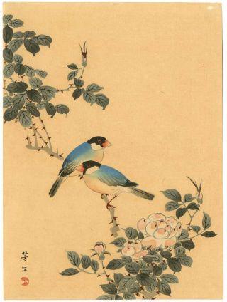 Hobun Japanese Woodblock Print Java Sparrows photo