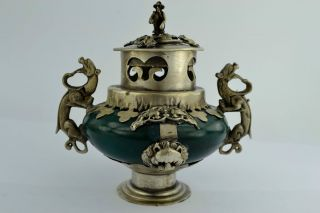 - China Collectibles Old Decorate Handwork Jade Dragon Incense Burner photo