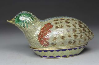 Chinese Old Closionne Wonderful Handwork Bird Jewelry Box photo