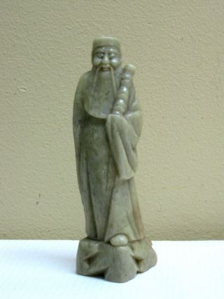 Fine Antique Hand Carved Chinese Green Soapstone Monk / God Figure / photo