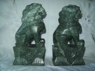 Fab Antique Pair Carved Stone Chinese Foo Dogs Shi Shi Lions Dark Green & Heavy photo