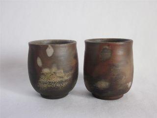 Japanese Bizen Ware Tea Cup 2set By Gorobe; Tasteful Glaze/ 557 photo