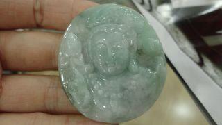Chinese Green 100%natural Grade A Jade Jadeite Pendant/lotus Kwanyin Buddha Head photo