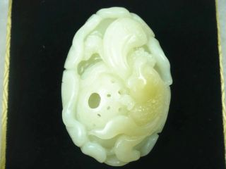 100% Of The Natural Hetian Soft Jade,  Fish And Lotus Root,  Safety Certificate photo