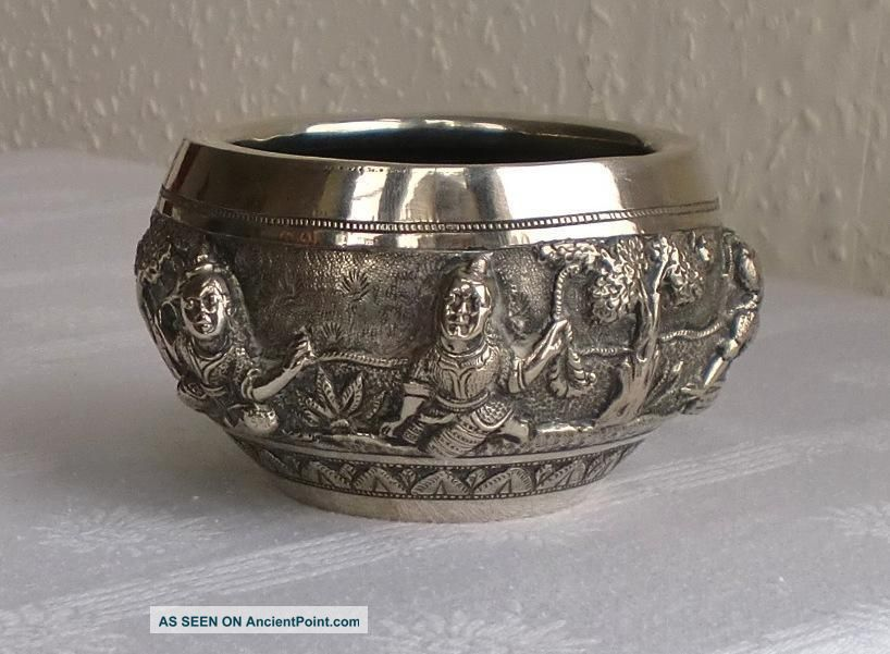 Antique 19thc Solid Silver Indian Bowl With Dancing Ladies In Relief 165 Grams Bowls photo