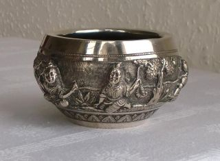 Antique 19thc Solid Silver Indian Bowl With Dancing Ladies In Relief 165 Grams photo