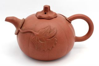 Antique Chinese Pumpkin Shaped Yixing Zisha Export Ware Tea Pot Teapot photo