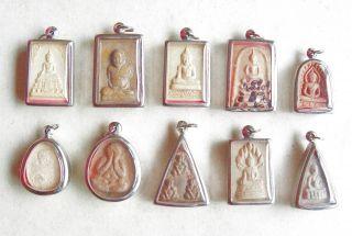 10 Thai Buddhist Buddha Antique Clay Amulet Medallions photo