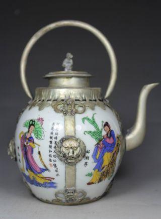 Chinese Handwork Porcelain Belle Flower Old Tea Pot photo