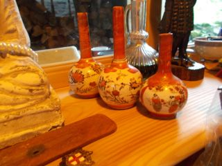 Three Antique Quality Miniature Chinese Canton Vases With Of Bulbous Design photo