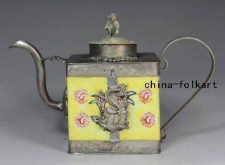 Chinese Old Porcelain Handwork Painting Flower Armored Dragon/ Phoenix Tea Pot photo