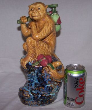 Rare Antique Large Ceramic Chinese Sitting Monkey W/ Ru Yi Scepter & Peaches 12