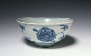Fine Antique Chinese Blue And White Bowl With Peony - Ming Dynasty photo