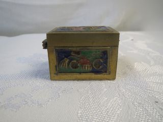Antique Chinese Cloisonne Enamel Design Flower Mini Stamps Box Nr photo