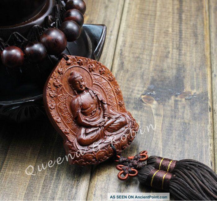 Peach Wood Carved Buddha Beads Shakyamuni Amulet Hand Car Decor Pendant Netsuke Buddha photo
