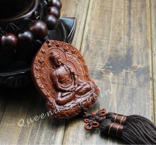 Peach Wood Carved Buddha Beads Shakyamuni Amulet Hand Car Decor Pendant Netsuke photo