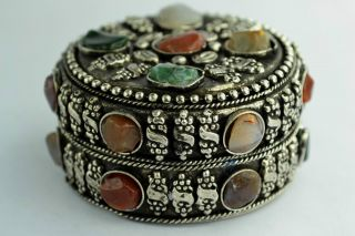 China Rare Collectibles Old Decorated Handwork Tibet - Sliver Agate Jewel Box +++ photo