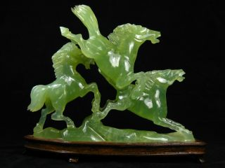 Vintage Chinese Hardstone Jade Horses Wood Stand photo