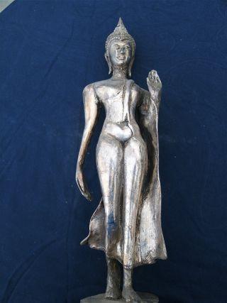 Finely Detailed Vintage Silver Leaf Sukothai Style Buddha Statue photo