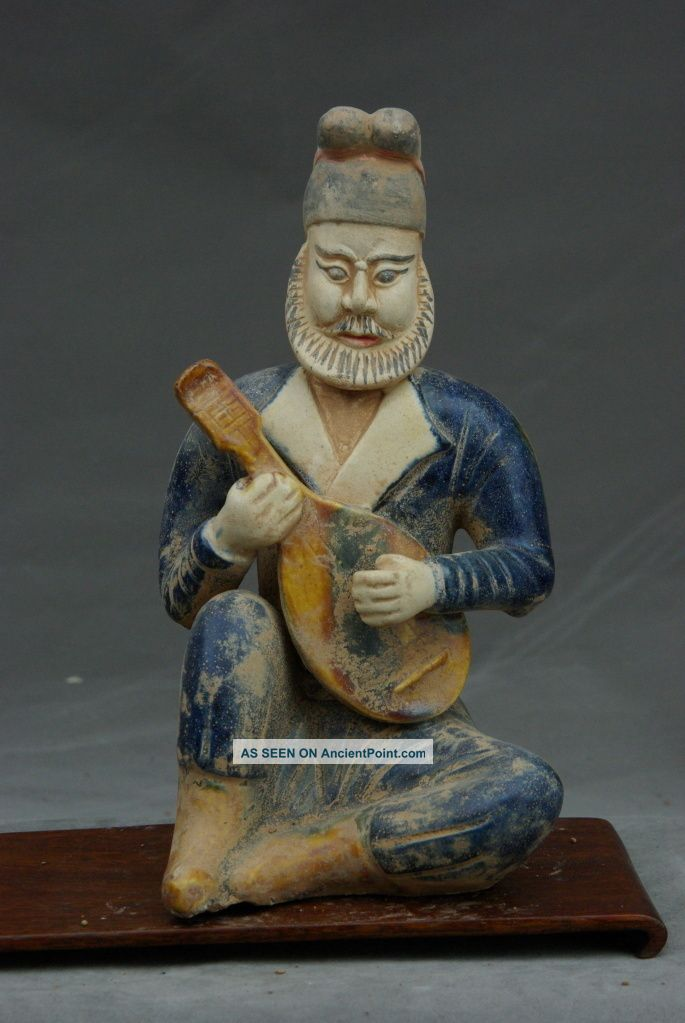 Chinese Antique Qing Dynasty Pottery Blue Statue Figure 8inches Buddha photo