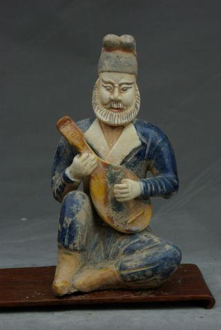 Chinese Antique Qing Dynasty Pottery Blue Statue Figure 8inches photo