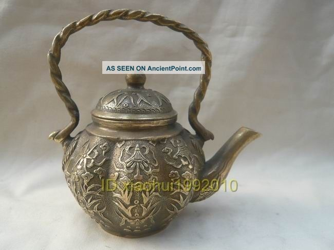 Chinese Old Tibet Brass Carved Ancient Teapot Buddha photo