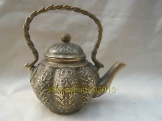 Chinese Old Tibet Brass Carved Ancient Teapot photo