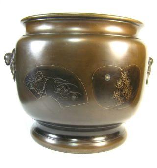 Japanese Antique 110+ Year Old Bronze Phoenix Hibachi Ikebana Vase Silver Inlay photo
