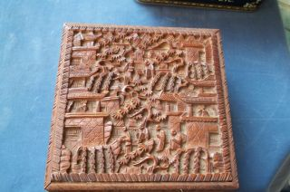 Nicely Carved Chinese Sandalwood Document Box photo