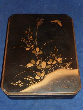 Stunning Antique Japanese Black And Gold Hand Painted Lacquer Box photo