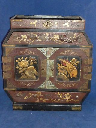 Antique Japanese Meiji Black And Gold Hand Painted Lacquer Cabinet Box photo