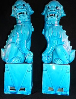 Fabulous Vintage Pair Of Chinese Turquiose Glazed Foo Dogs/temple Lions Mint photo