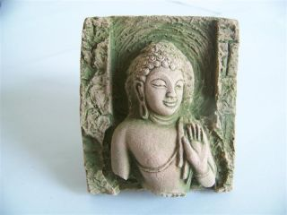 Lord Buddha Sandstone Antique Statue Thailand photo