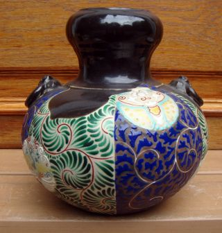 Antique Japanese Arita Imari Stoneware Vase photo