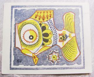 Japanese Woodblock Print,  Interesting Yellow Comical Fish photo