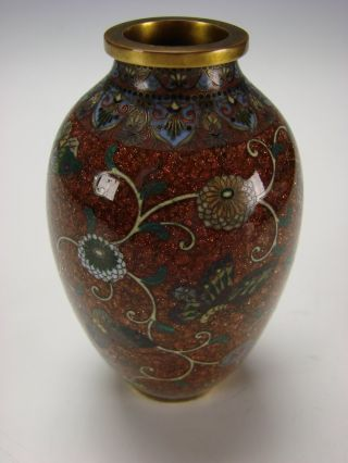 Antique Japanese Meiji Enamel On Copper Goldstone Cloisonne Cabinet Vase C1900 photo