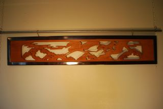 Japanese Hand Carved Ranma Xtra Long Wood Carved Transom Pine Trees & Crane 1 photo