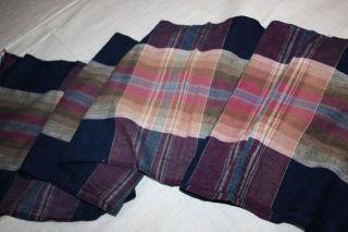 Japanese Antique Indigo Dye Cotton Check Kimono Textile 66.  9