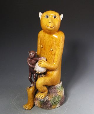 Large Old Sancai Glazed Chinese Porcelain Statue Of Monkeys And Peach photo