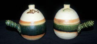 2 Japanese Oribe Handled Lidded Stoneware Bowls Fish Glazed Crazed Signed photo