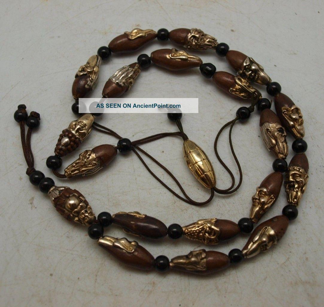 Stunning Oriental Chinese Bronze Ojime Beads - Etched Buddha & 18 Arhats Lohan Buddha photo
