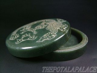 Old Chinese Spinach Nephrite Jade Inkpad Box 16/17thc.  Powerful Dragon Carved photo