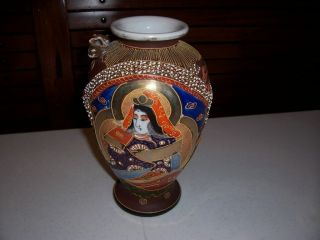 Japanese Satsuma Vase With Right Facing Raised Dragon With Gilded Head (bso - 30) photo