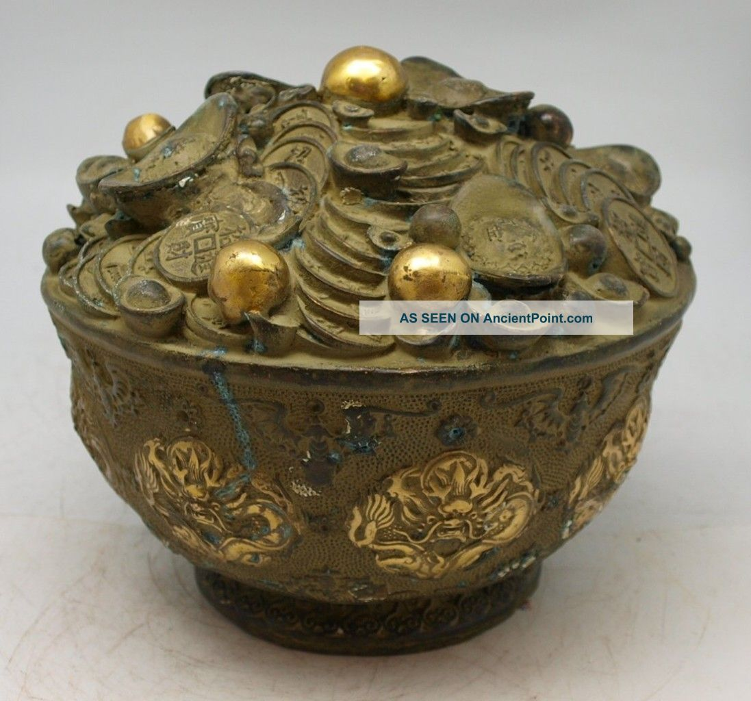 Oriental Bronze Feng Shui Sculpture - Chinese Wealth Pot Of Money Coins - Signed Buddha photo