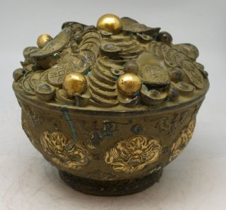 Oriental Bronze Feng Shui Sculpture - Chinese Wealth Pot Of Money Coins - Signed photo