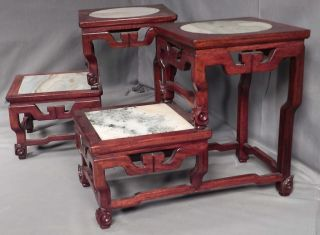 Pair Vintage Chinese Oriental Marble Wood Teak Step Table Display Stand Carved photo