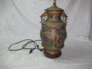 Awesome Vintage Dragon Metal Cloisonne Aisan Oriental Flower Lamp W Cool Finial photo