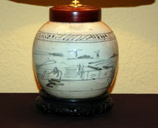 Blue & White Chinese Canton Ginger Jar Lamp Qing Ca.  1800 photo