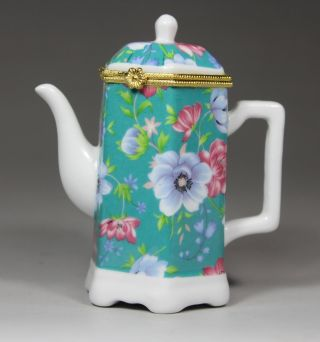 Chinese Porcelain Handwork Tea Pot Painting Flower Toothpick Box photo